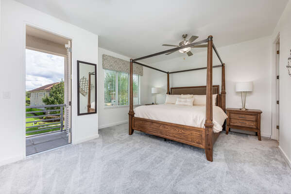 This gorgeous second floor master suite features a King bed and private balcony