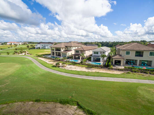 With beautiful golf course views