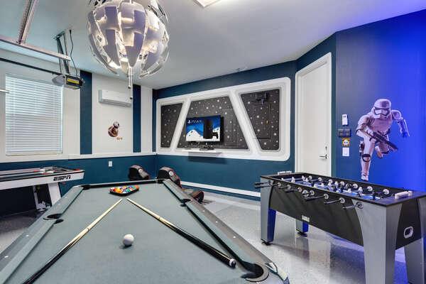 Play pool or foosball