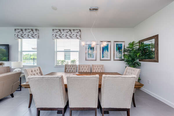 Formal dining table seats 8