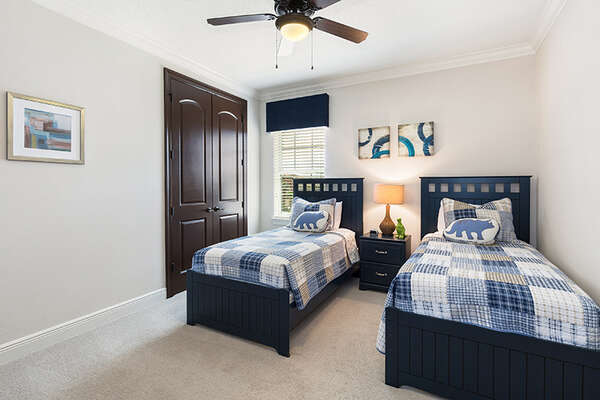 This kids twin bedroom is located on the second floor