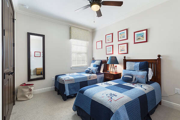 Comfortable twin bedroom on the first floor