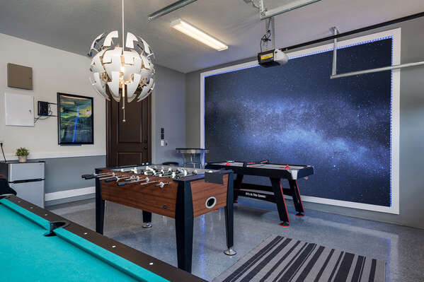 Play all day in this awesome galaxy game room