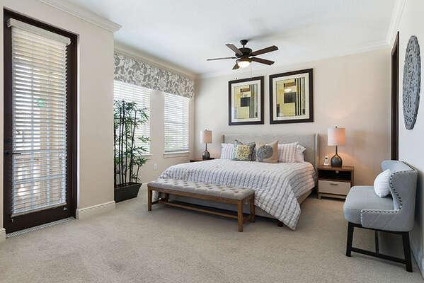 Spacious master suite with a King bed