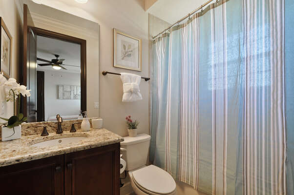 One of the many bathrooms found in the home
