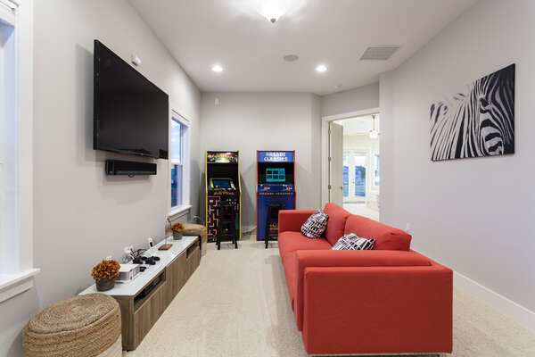 The fun loft area features everything you need to have fun