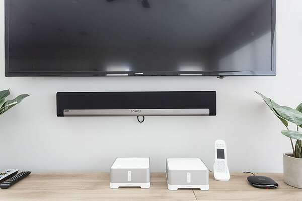 Watch TV or enjoy music with the Sonos sound system