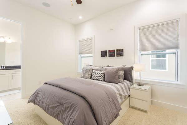 This second floor Queen bedroom was designed with comfort in mind