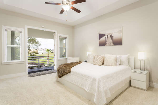 This luxurious second floor master bedroom features a King bed
