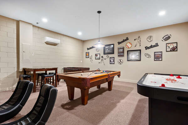 The in home games room is sure to delight