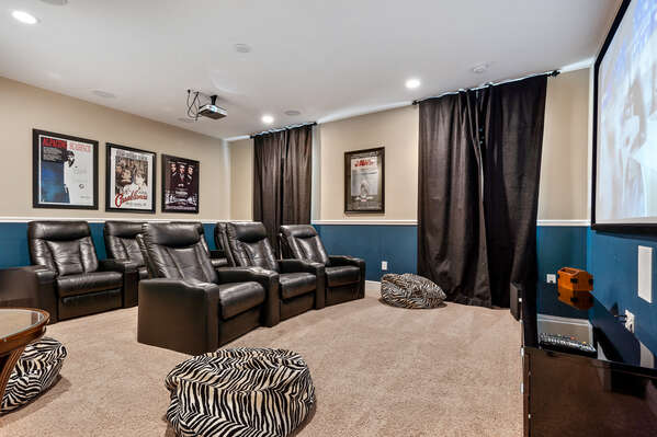 Spacious private theater room with tons of seating