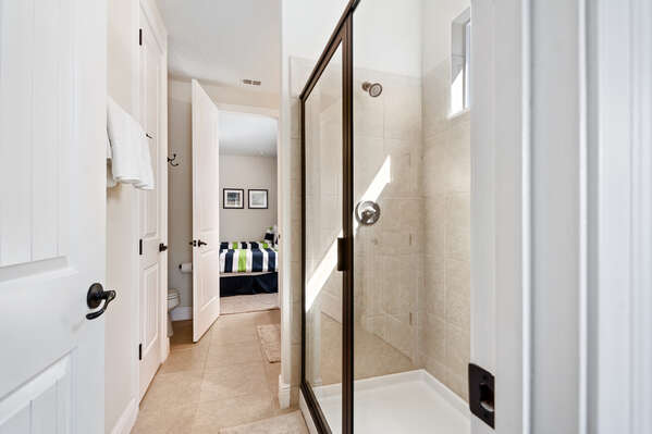 Jack and Jill bathroom with a walk in shower