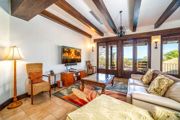 Enjoy the large flat screen in the upstairs living room