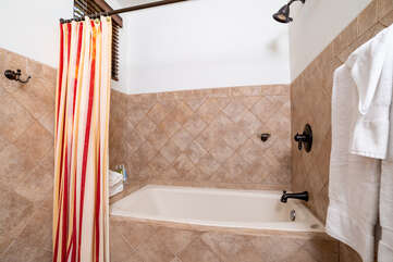 Tub and shower in the guest bathroom