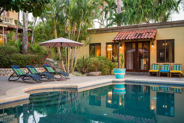 Pool side Casita has some great perks, just one step to refreshing dive!