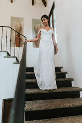 Bride's first look in the grand staircase at Casa Costa Blanca