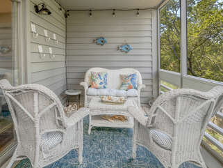 Seating area on screen porch