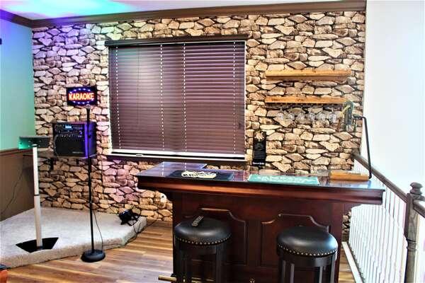 Karaoke and bar with wine opener in loft