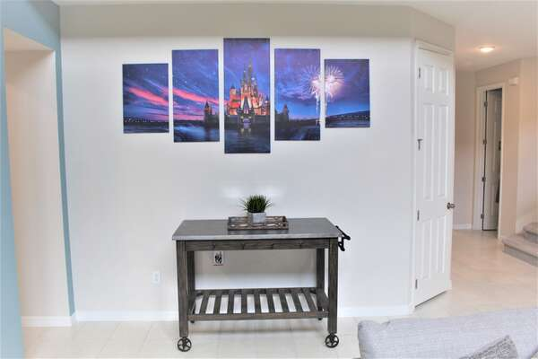 Custom Disney art in living room