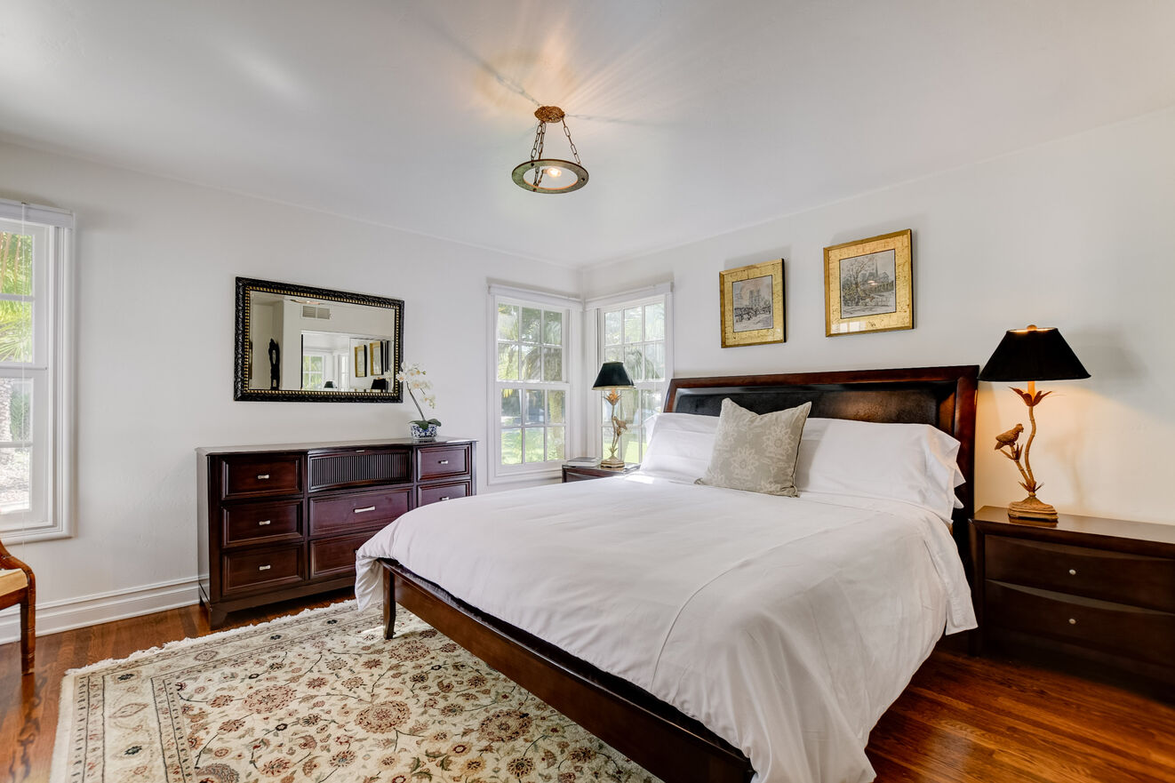 Enjoy the stately elegance of the first-floor garden view suite with luxurious King size bed