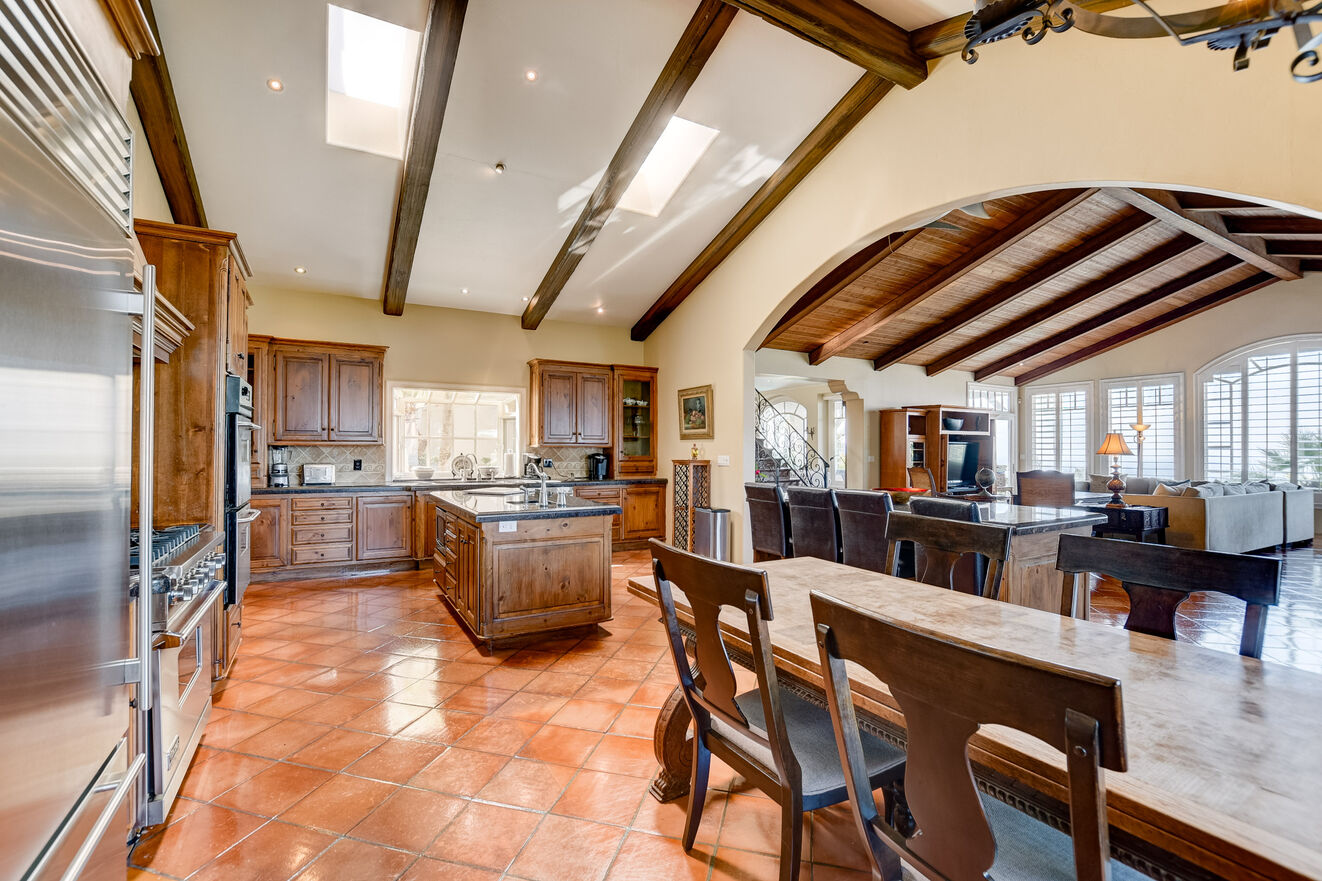 The kitchen flows seamlessly into the family room