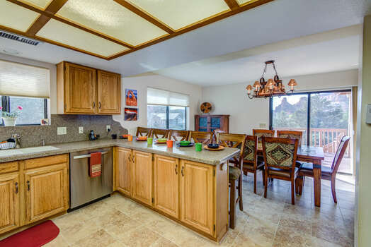 Kitchen and Dining Area with Red Rock Views