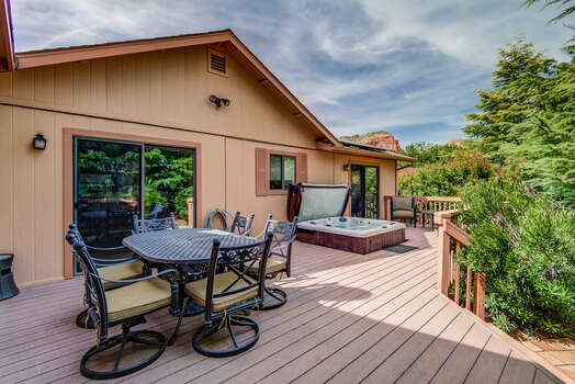 Large Deck with Multiple Sitting Areas and Private Hot Tub