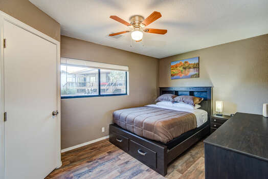 Casita Bedroom with Queen Bed and Access to Full Shared Bath