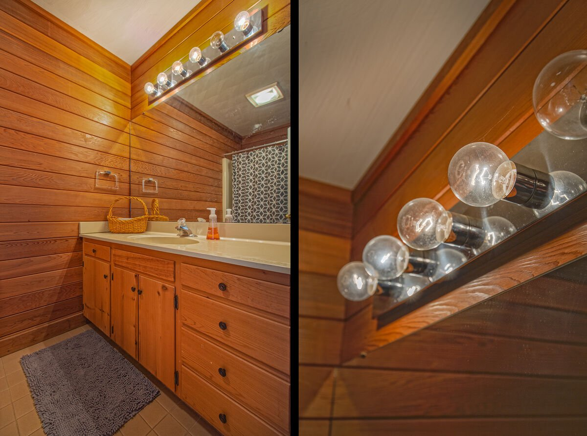 Wood-Paneled Bathroom in our Ancora Point Rental, Upper Level