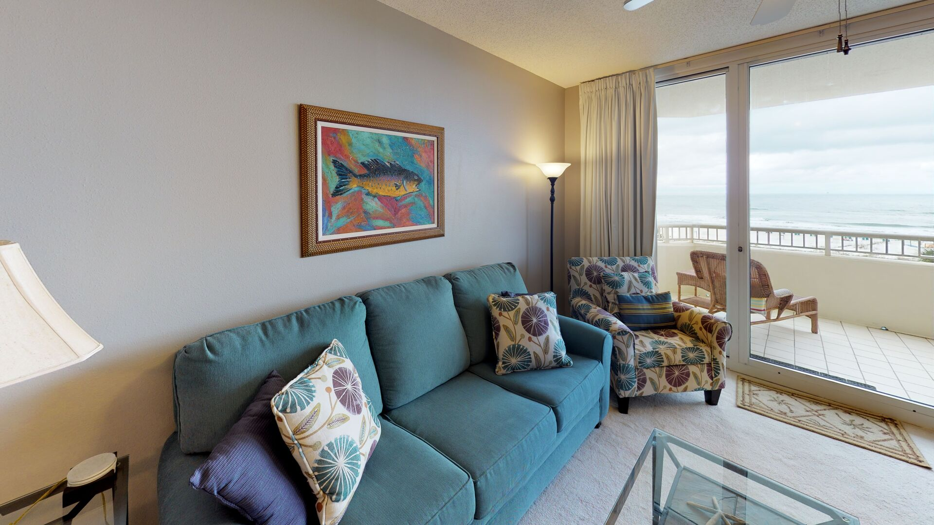 Cozy Furnishings in the Living Area of our Fort Morgan Beach Front Rental
