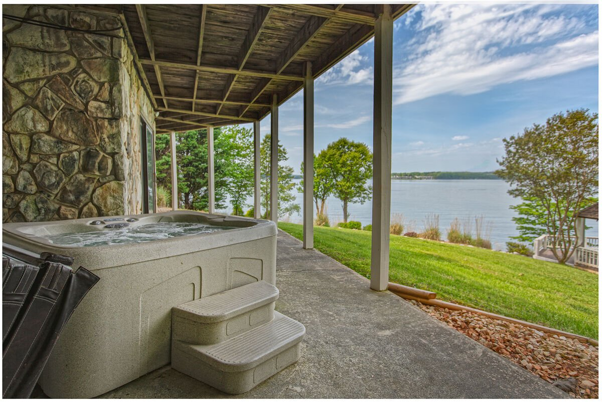 Hot-Tub Overlooking the Lake at our Smith Mountain Lake House Rental