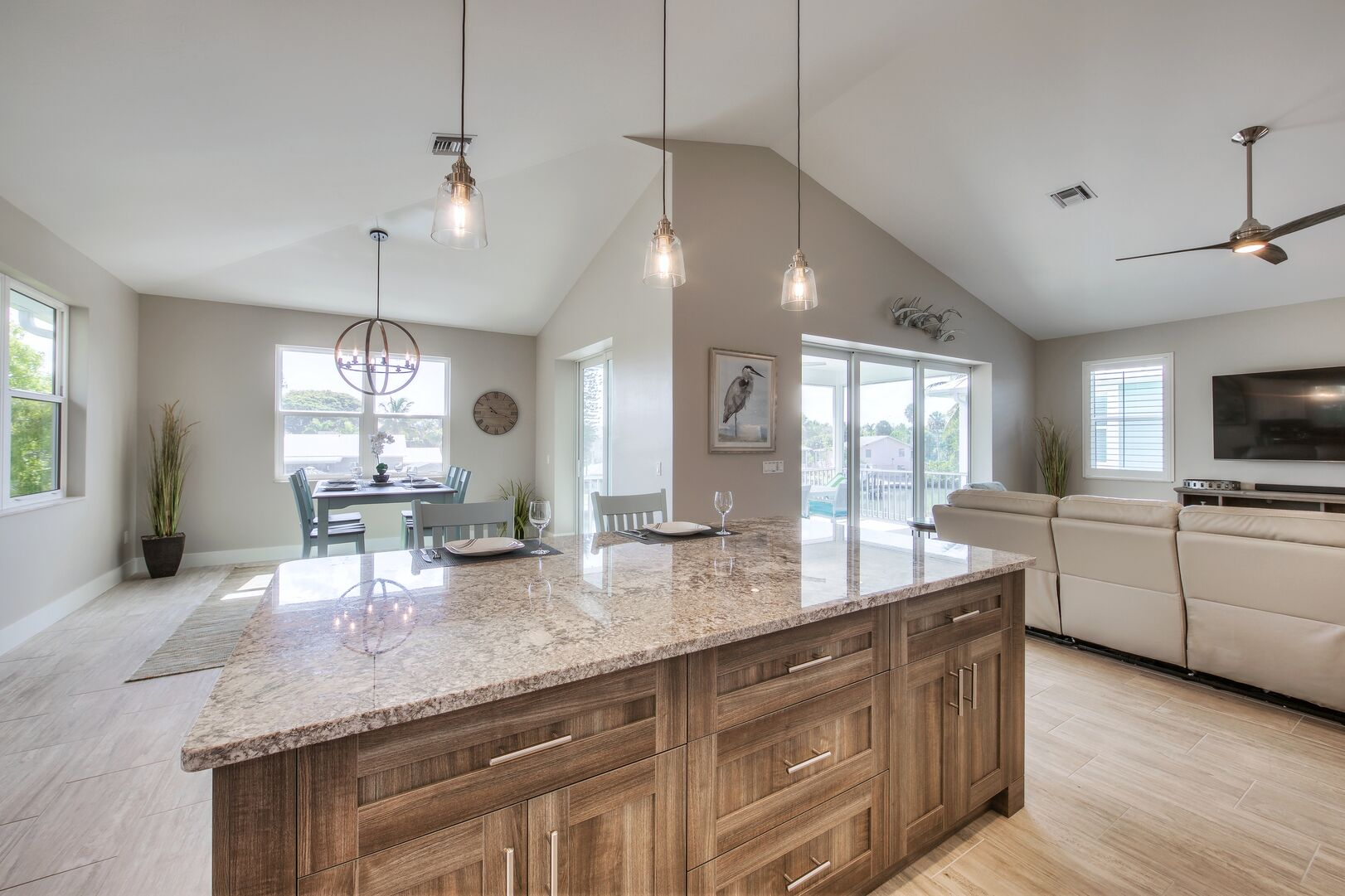 Large Kitchen Island at Vacation Home Rental In Fort Myers Beach Florida