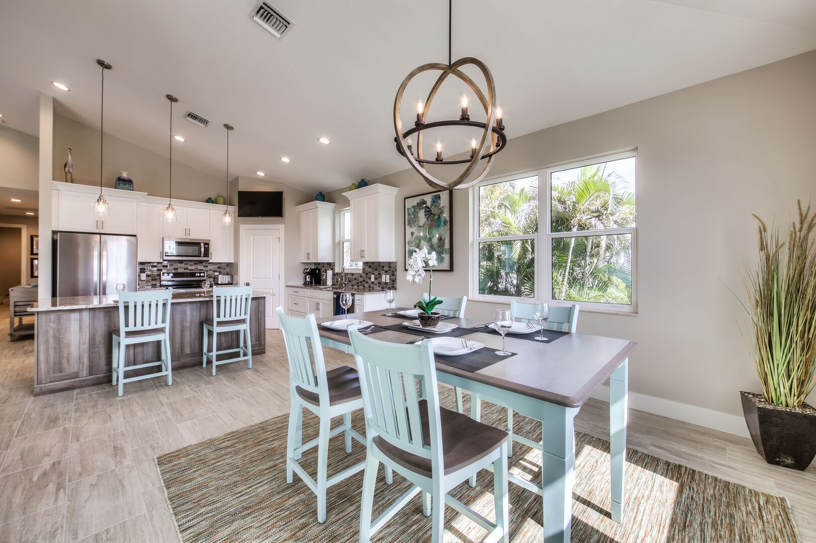 Dining and Kitchen Area at Vacation Home Rental In Fort Myers Beach Florida