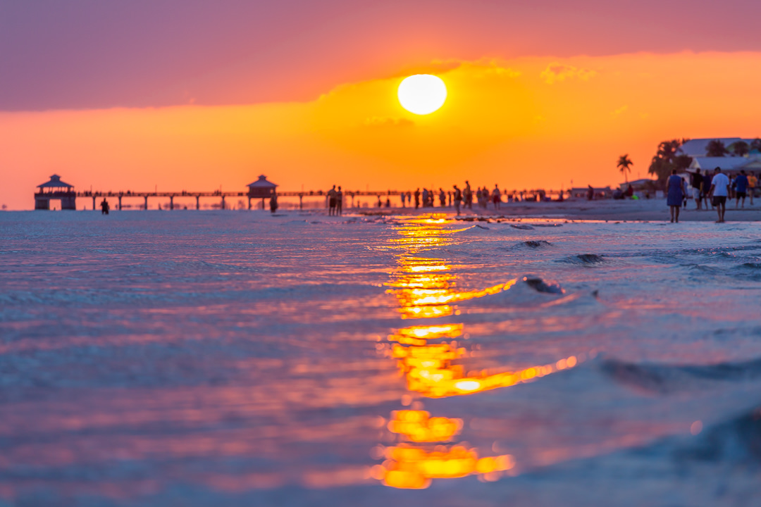 Sunset over the Water near Vacation Home Rental In Fort Myers Beach Florida
