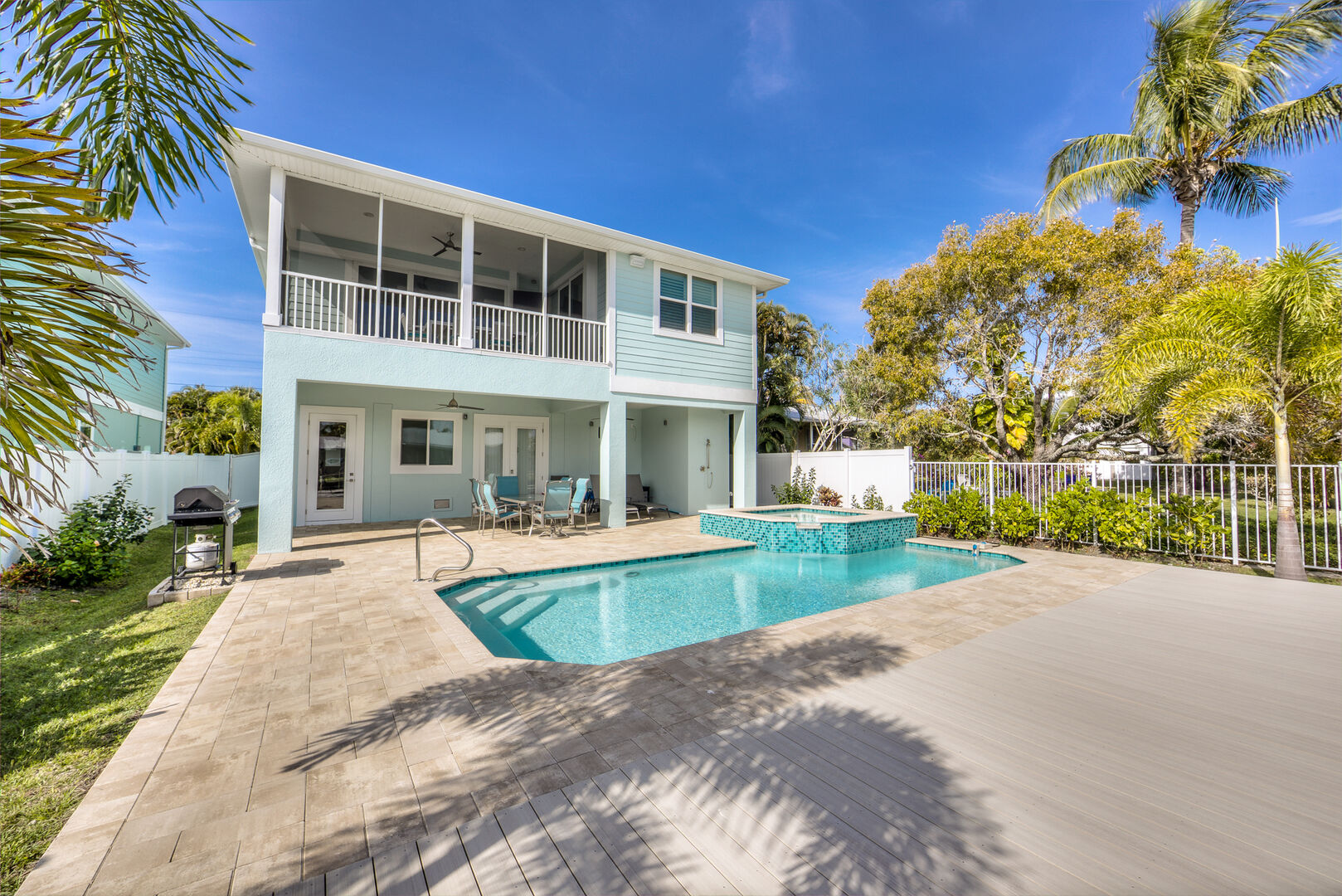 Rear Exterior and Pool at Vacation Home Rental In Fort Myers Beach Florida