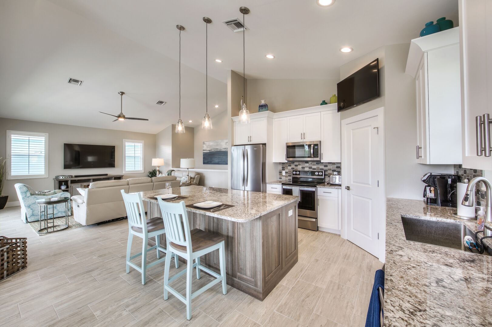 Kitchen and Living Area at Vacation Home Rental In Fort Myers Beach Florida