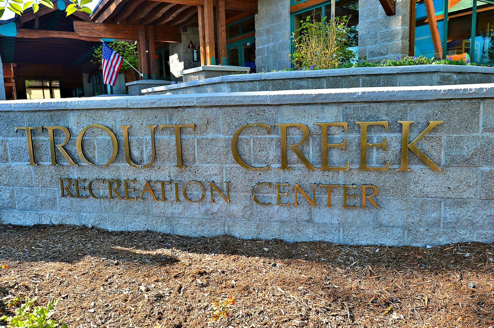 Wall with the name Trout Creek Recreation Center.