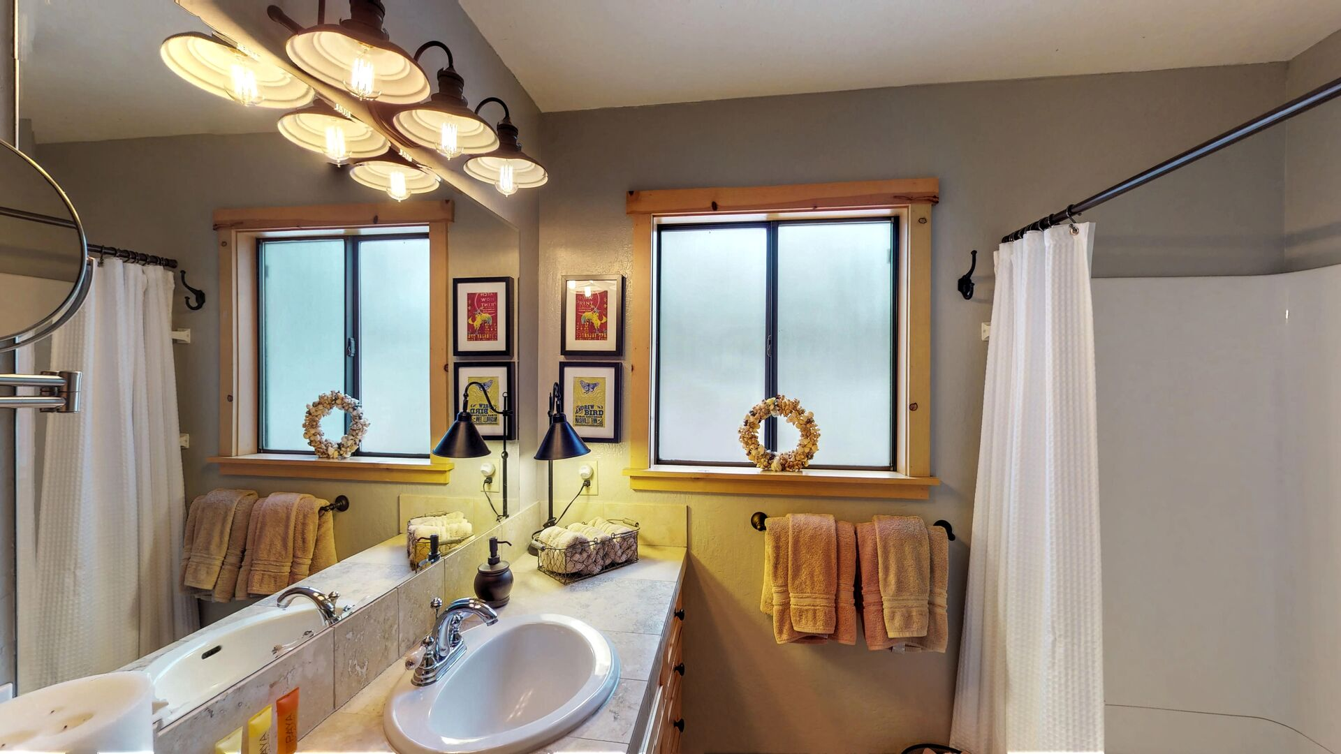 Full Bath with Frosted Window in our Vacation Rental in Lake Tahoe