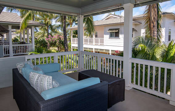 Outdoor lanai at this Ko Olina rental