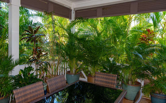 Foliage and outdoor dining area at this Ko Olina rental