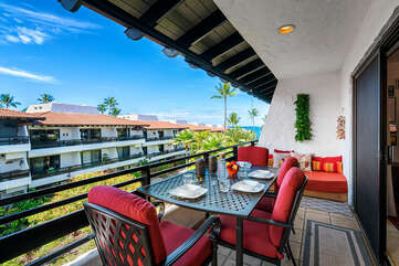 Spacious lanai includes outdoor dining