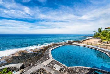 Complex ocean front salt water pool