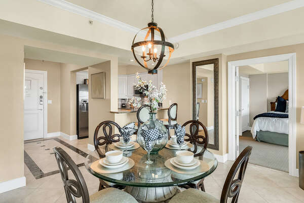 Seating for 4 at the elegant dining table