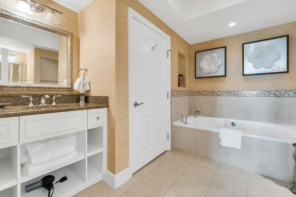 With walk in shower and garden tub