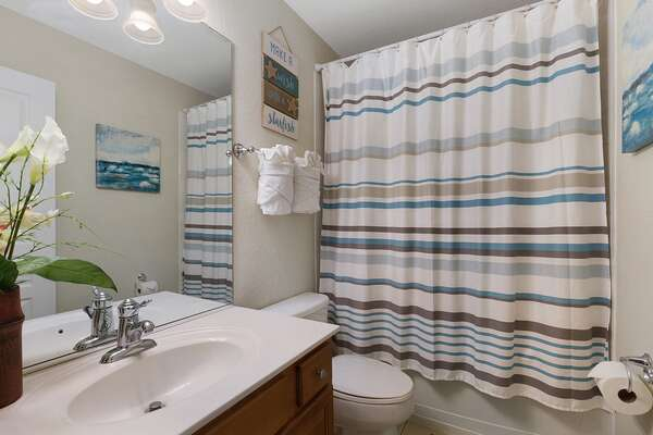 Upstairs bathroom with shower, toilet and tub