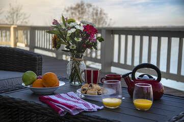 Breakfast on the Deck Overlooking the Water
