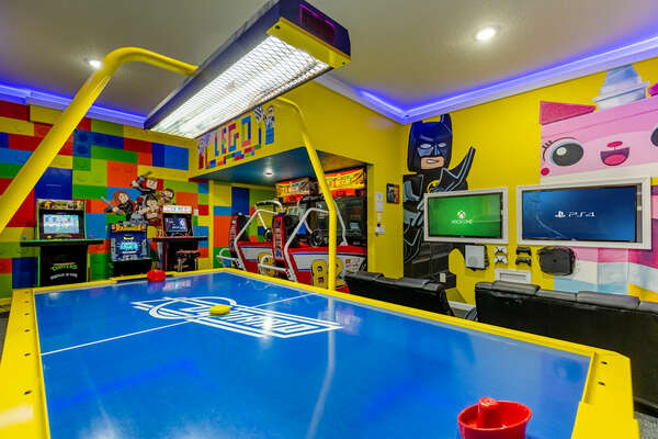 Challenge your family members to a game of air hockey or race head to head on the NASCAR racers