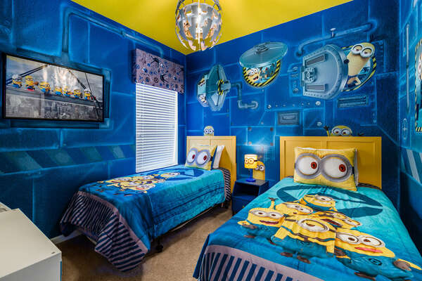 Kids will go bananas for this fun custom bedroom with two twin beds