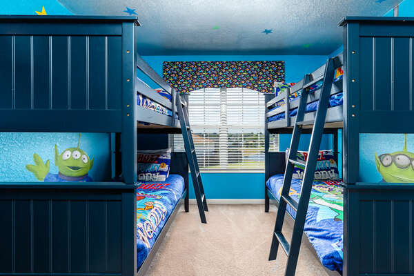 With two twin/twin bunk beds, kids will love the out-of-this-world bedroom