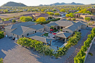 Another back view of the home with the Usery Mountains in the distance